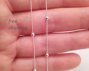 Sterling necklace chain; 18 inch; beaded design