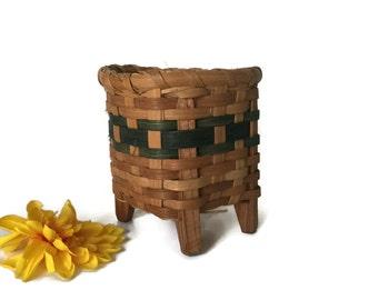 Vintage Wood Splint Basket with Legs, Catch All Mail Basket, Utensil Basket, Small Storage Basket