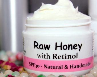 Spf30 Raw Honey(unpasteurized) - Face Moisturizer - Sunscreen - Illuminator/Glow - with Natural Vitamin A/ Retinol(1 & 2oz)