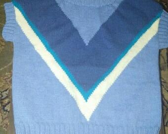 Tshirt 4 tone blue jacquard in V for women 34