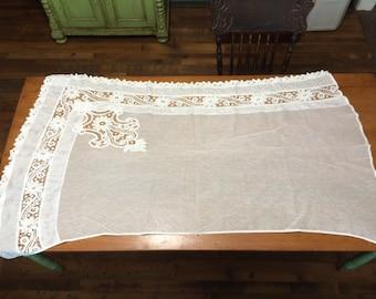 Gorgeous Antique Victorian Handmade Vintage Battenburg Lace Curtain Drape 36 X 60 Romantic Boho Shabby Chic
