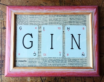 Gin Lexicon wall art, Home decor Gin, Housewarming gift, Wedding gift, Birthday gift, Gin sign, Upcycled vintage sign, Vintage frame art
