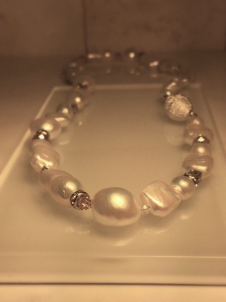 handmade pearl necklace natural pearl necklace baroque pearl. Black Bedroom Furniture Sets. Home Design Ideas