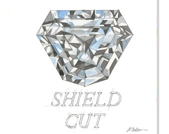 Shield Cut Diamond Watercolor Rendering printed on Canvas