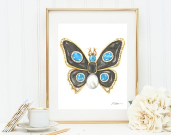 Butterfly Brooch Watercolor Rendering in Yellow Gold with Black Onyx, Blue Topaz, Diamonds and Pearl printed on Paper