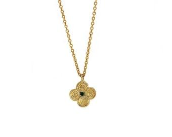 Summer Sale charm necklace, silver necklace, clover charm, unique charm