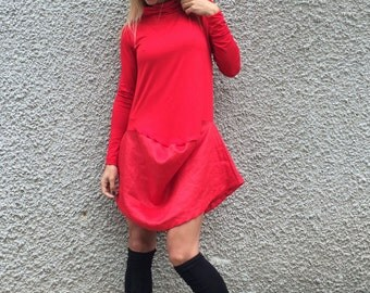 New Women's Plus Size Doll Dress, Sexy Casual Dress, Maxi Red Tunic, Loose Party Dress, Evening Dress by SSDfashion