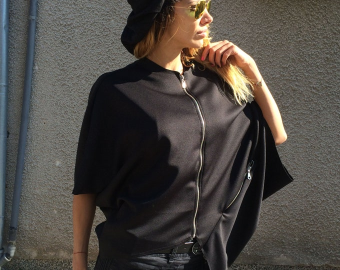 Maxi Black Neoprene Sweatshirt, Asymmetrical Jacket With Zippers, Plus Size Casual Tunic Top by SSDfashion