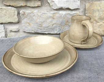 Pottery dinnerware set - 4pc handmade pottery dishes, birch glaze on dark clay