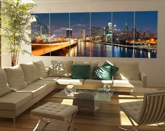 Philadelphia skyline large canvas wall art  Philadelphia Large panorama panoramic Philadelphia canvas wall art art