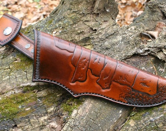 Bushcraft Leather Knife Sheath / Quality Leather Knife Sheath Tan & Black With Inukshuk PegCity Leather Custom Design! Bushcraft Sheath