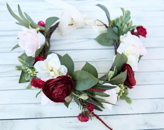 Fall flower crown headband, burgundy and cream flower crown, headband, wedding headband, flower headband, boho flower girl, boho floral crow