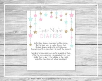 Twinkle Little Star Gender Reveal Late Night Diapers Sign - Printable Gender Reveal Late Night Diapers - Pink Aqua Gold Gender Reveal- SP139