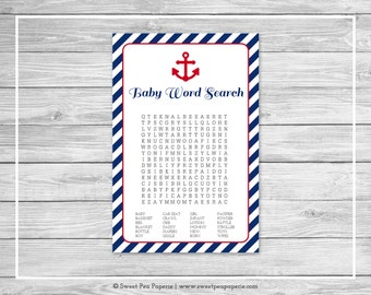 Nautical Baby Shower Baby Word Search Game - Printable Baby Shower Baby Word Search Game - Navy Red Baby Shower - Baby Word Search - SP118