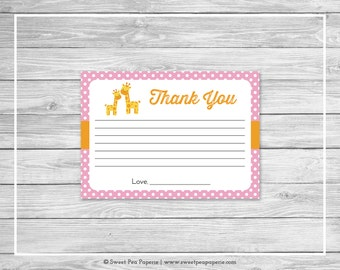 Giraffe Baby Shower Thank You Cards - Printable Baby Shower Thank You Cards - Pink Giraffe Baby Shower - Shower Thank You Cards - SP129
