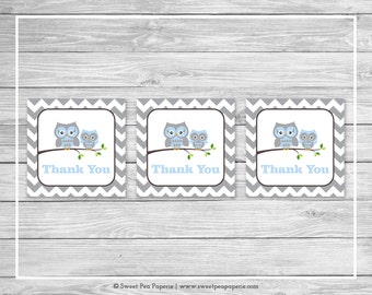 Owl Baby Shower Favor Thank You Tags - Printable Baby Shower Thank You Tags - Blue Owl Baby Shower - Owl Favor Tags - Owl Shower - SP135