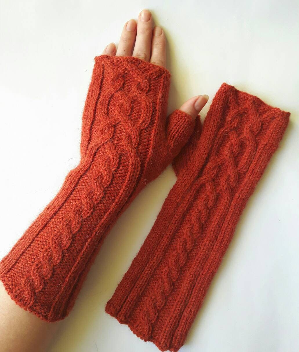 Long Arm Warmers Knitting Pattern : Knit fingerless gloves hand arm warmers Knit hand by SoftKnitsHome
