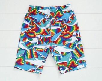 Boys Rainbow Shark Shorts