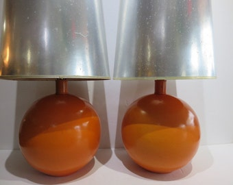 "Pair Of Mid-Century Modern Lamps With Tall Silver Shades, Overall Height 41.5"" Tall."