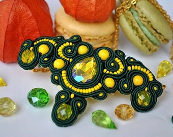 Handmade Soutache Green Tea Necklace