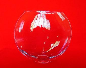 Large GLASS BUBBLE VASE Flat Round Shape Vintage