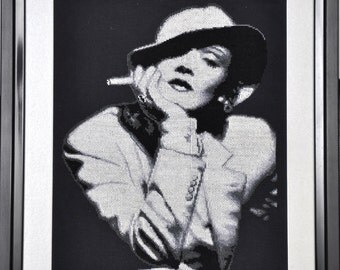 Embroidery. Handmade. The picture of Marlene Dietrich