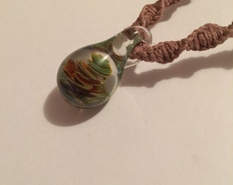 Handmade hemp necklace with blown glass swirl pendant charm OOAK