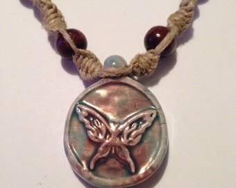 Hemp necklace ceramic raku butterfly pendant handmade