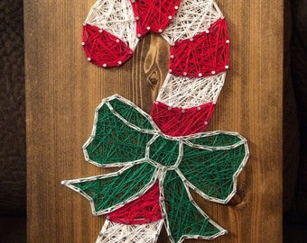CUSTOM Candy Cane String Art