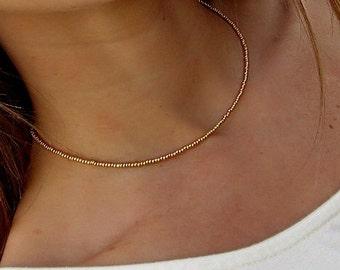 Gold Seed Bead Choker Necklace // Gold Choker // Gold Beaded Choker // Gold Necklace // Yellow Choker // Yellow Gold//Beaded Choker Necklace