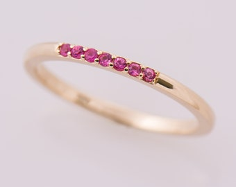 Pink Sapphires Yellow Gold Band, Delicate Ring, Thin Band, 14K Gold Ring, Unique Sapphire Band, Stacking Ring