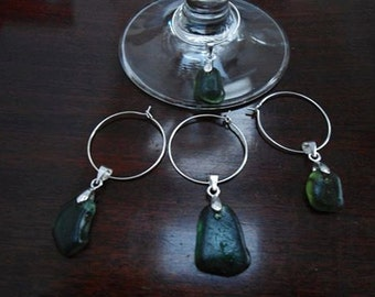 Sea Glass Wine Glass Charms
