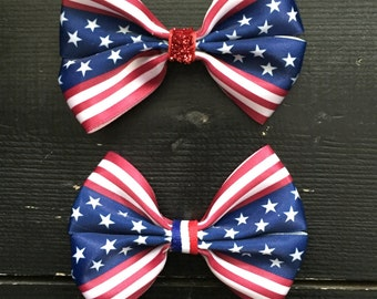 4th of July hair bows, Fourth of July hair bows, American flag hair bows, American hair bows, Memorial Day hair bows, Veterans Day hair bows