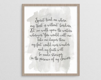 Spirit Lead Me - Hillsong United Oceans Lyrics | Instant Download Printable