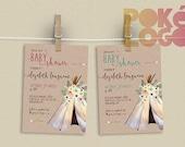 Baby Shower, TeePee Baby Shower, Boho, Printable, Bohemian, Rustic, Invitation, flowers, teepee, DIY Printable Digital, Watercolor,
