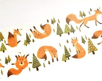Funny fox washi tape (T00181)