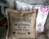 Hessian (burlap) Cushion, vintage, rustic, French shabby chic.