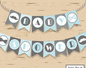 Little Man Baby Shower Banner Mustache Party Printables DIY Printable INSTANT DOWNLOAD