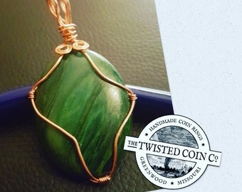African Jade Wire Wrapped Pendant