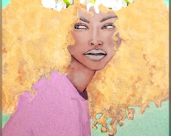 Fashion illustrations, natural hair illustrations (prints)