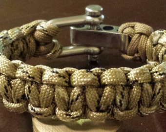 Desert Camo Para-Cord Bracelet With Silver Adjustable Clevis. Wrist Sizes 5 through 11.