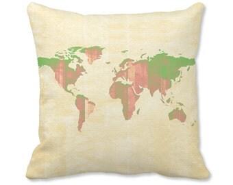World Map Pillow - World Map Decor - World Pillow - Map Pillow - World Map Decor - Travel Decor - Map Throw Pillow