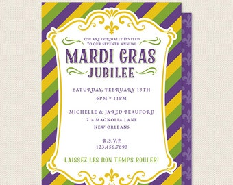 Mardi Gras Invitation - New Orleans Masquerade Ball - Fat Tuesday Party Invite - Carnival Celebration - Sophisticute Paperie