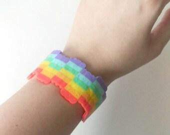 Pastel Rainbow Plastic Cuff - Rainbow Jewelry - Pastel Bracelet