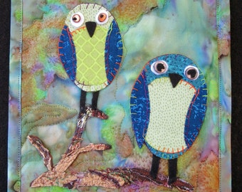 "Whimsical Owl Art Quilt, Quilted Wall Hanging, Fiber Art Quilt, Handmade Quilt, Home Decor, Gift for Friend, 8"" x 10 """