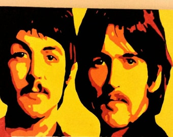 The Beatles 40 x 16 Original Painting by Rogue- gallery wrapped canvas