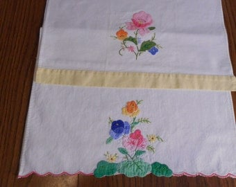 Applique Tea Towel with Embroidery