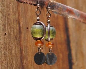 Wine Bottle Beach Glass Earrings
