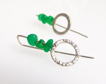 Earrings, sterling silver, jade
