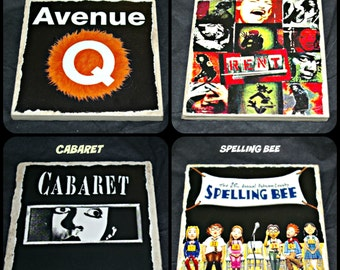Broadway Musicals - Broadway Gifts -  Avenue Q Musical - Cabaret Musical -  Rent Musical - Spelling Bee Musical - Broadway Play Coasters